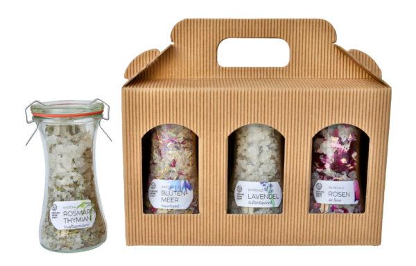 Geschenk-Set mit 3 Badesalze im Delikatessenglas